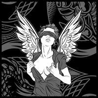 kvinnor ängel med vinge handrit vektor