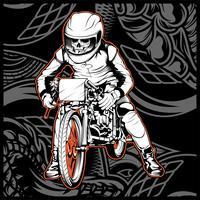 Schädel, der ein Motorrad bereit zum Rennen reitet
