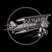Retro Flugzeuglogo der Weinlese. Vector Hand skizzierte Luftfahrtillustration in der Stichart für Plakat, Karte usw.