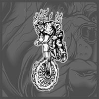 Schädel, der einen Fahrradhandzeichnungsvektor fährt