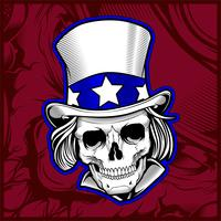skull wearing hat hand drawing vector