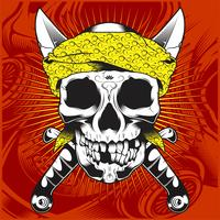 head skull wearing bandana and cross sword-vector