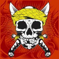 cabeza cráneo vistiendo bandana y cruz espada-vector