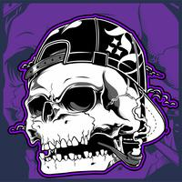 skull wearing hat, smoking cigar vector