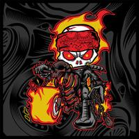 skull rider ride a motor cycle