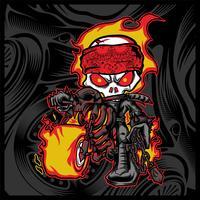 il cavaliere del cranio guida una motocicletta
