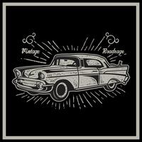 Vector illustration of vintage car. Retro car on black background - Vector