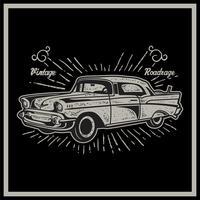 Vektor illustration av vintage bil. Retro bil på svart bakgrund - Vektor