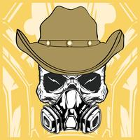 cowboy skull wearing respiration vector