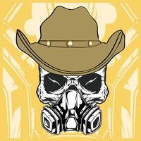 cowboy skull wearing respiration vector