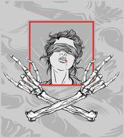 gril with hand skull metal.hand drawing,Shirt designs, biker, disk jockey, gentleman, barber and many others.isolated and easy to edit. Vector Illustration - Vector