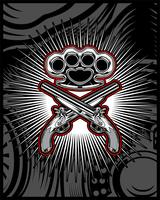 wapen gun and knuckle.hand tekening