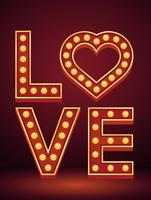 LOVE letter sign marquee light bulb vintage vector