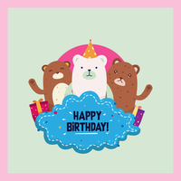 Buon compleanno animali vettoriale
