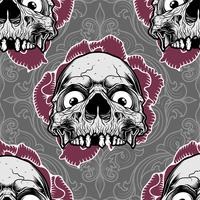 pattern skull ornament with rose,vector