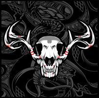 skull deer vector hand drawing