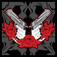 2 hand holding gun with rose ,vector