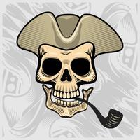 crâne coiffé d'un chapeau de fumer, vector