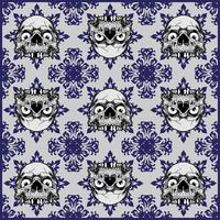 Ornamental Skull Seamless Pattern - Vector