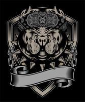 pit-bull portant la main de bandana dessin vectoriel