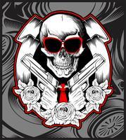 cráneo bandido manejo pistola mano dibujo vector