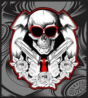 crâne bandit manipulation pistolet main dessin vectoriel