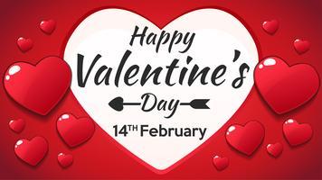 Diseño de letras feliz día de San Valentín vector, ilustración vectorial