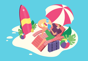 Summer Vacation At Beach Vector Flat Illustration