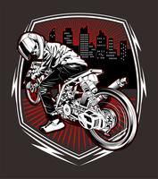 skull motorcycle racing hand drawing vector