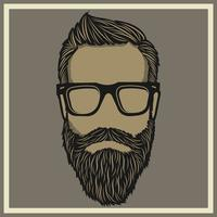 vintage a thick bearded man wearing glasses vector