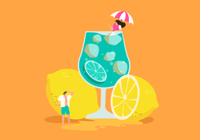 Fresh Lemonade On Summer Vector Illustration