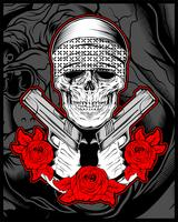 skull mafia,gengster wearing bandana with gun an roses