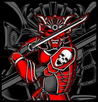 Samurai skull japanese illustration