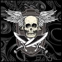 skull wing with sword vector