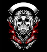 Skull with motorcycle helmet and bandana - Vector