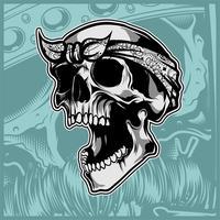 cráneo vistiendo bandana mano dibujo vectorial
