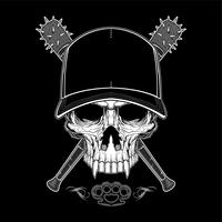 Vintage bandit skull in hipster cap and skeleton hands holding crossed baseball bats isolated vector illustration