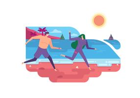 Férias de verão na ilustração vetorial de praia