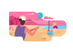 Beach Volley On Summer Vector Flat Illustration