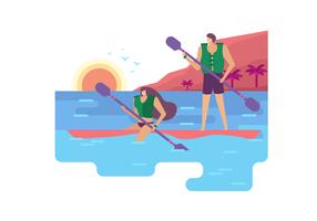 Attività di estate all'illustrazione piana di vettore della spiaggia