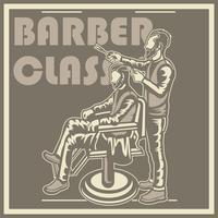 Vintages Friseursalonplakat mit Friseurstuhl, Männern, Text und Schmutzbeschaffenheit