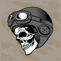 skull helmet hand drawing vector