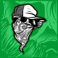 skull wearing bandana hand drawing vector