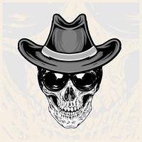 cabeça de caveira usando óculos e chapéus de cowboy