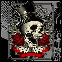skull wearing hat and dice rose decoration -vector