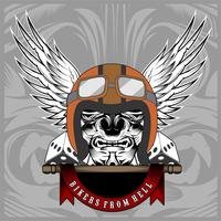 Ilustración vectorial Cráneo de motocicleta vintage, motores de motocicleta y ala en casco.