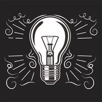 Vintage light bulb in engraving style. Hand drawn retro lightbulb with illumination for idea concept.