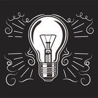 Vintage Glühbirne im Gravurstil. Übergeben Sie gezogene Retro- Glühlampe mit Beleuchtung für Ideenkonzept.