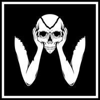hand holding skull head