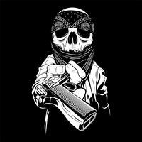 um crânio usando uma bandana mãos sobre uma arma, vetor
